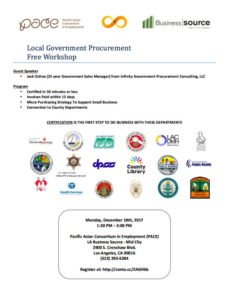 Local Government Procurement Workshop Learn How To Get Certified